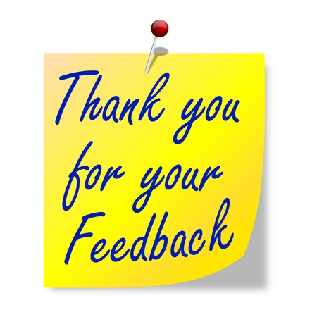 The paper with the words  thank you for your feedback