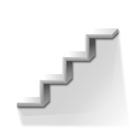 Shelf in the shape of stairs on a white background - vector