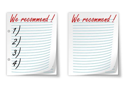 recommend: Lined paper with the words  we recommend  - vector