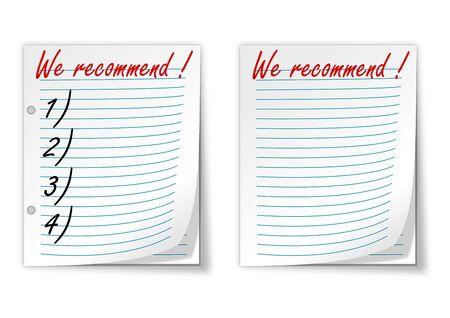 prioridades: Papel alineado con las palabras que recomendamos - vector Vectores