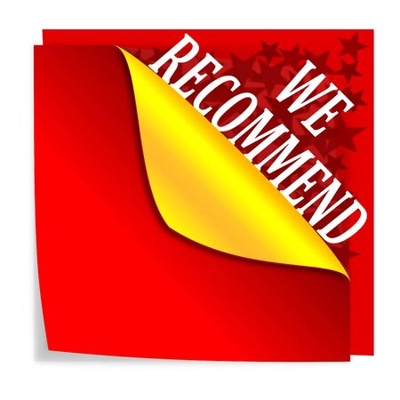 recommend: Red paper with folded corner and says  we recommend  - vector