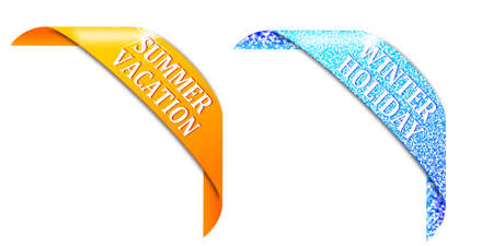 Two horns with inscriptions summer and winter holidays - illustration illustration