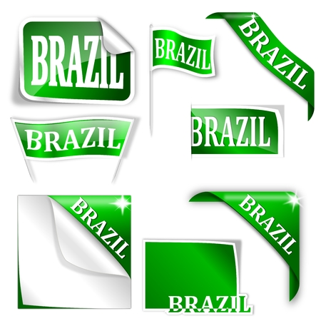 futbol soccer: Set of labels with the word  Brazil  - vector
