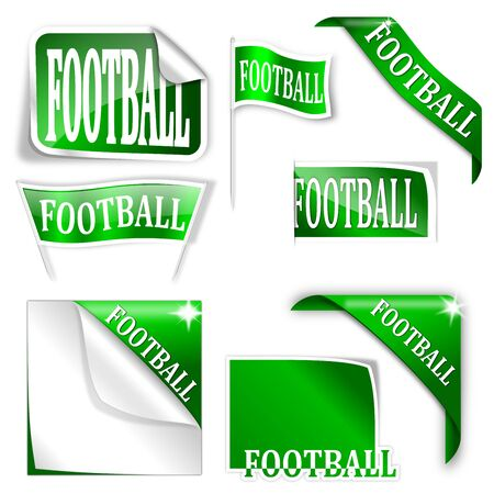 futbol soccer: Set of labels with the word  football  - vector
