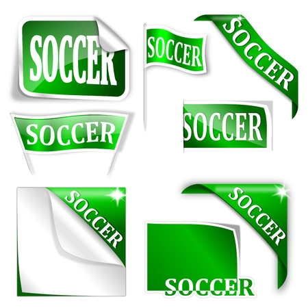 futbol soccer: Set of labels with the word  soccer  - vector Illustration