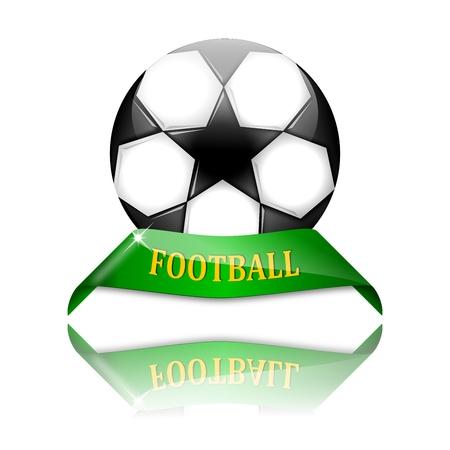 futbol: Soccer ball on green pedestal with the inscription football - vector Illustration