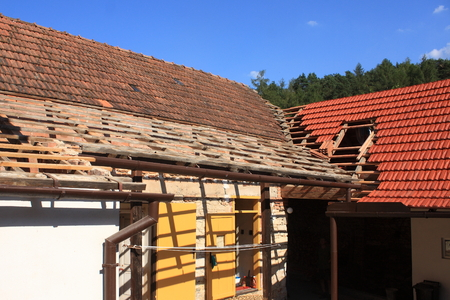 glaze: Gable roof covered with red ceramic covering with glaze Stock Photo