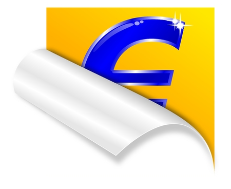 Bent paper corner with the sign  euro  - vector Vector