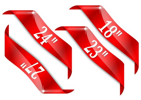 Red corners with signs monitors to screen sizes in inches - vector Illustration