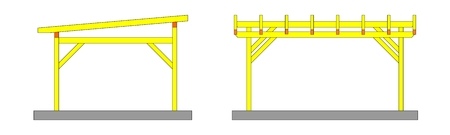 Two sketches yellow wooden pergolas with no covering - illustration Vector