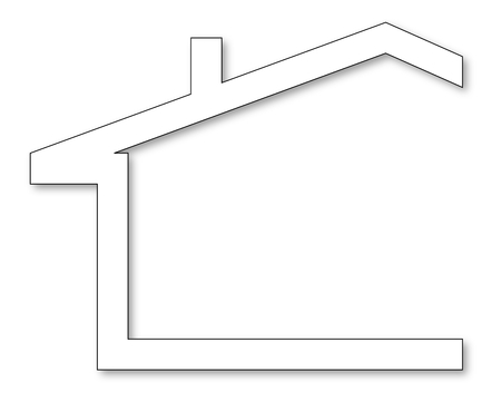 The silhouette of the house with a gable roof and chimney - vector