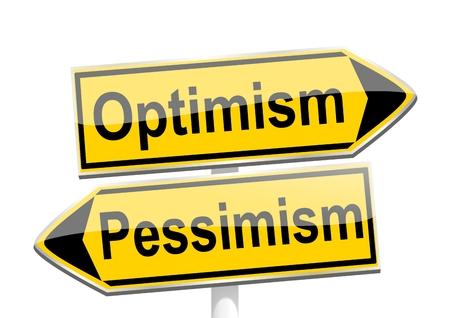 Yellow directional arrows with the words optimism and pessimism Ilustrace