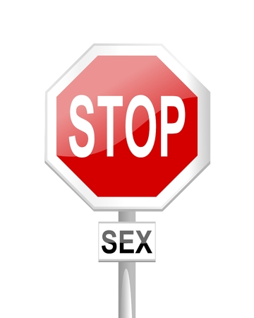 Red stop sign with a sex test Vector