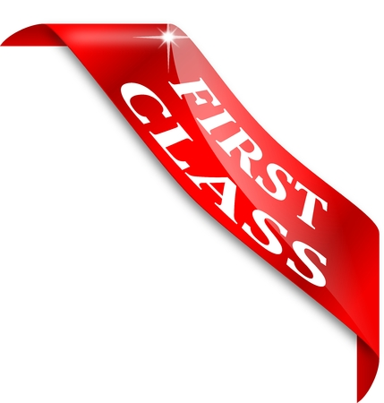 first class: Red narrow corner with the word first class Illustration