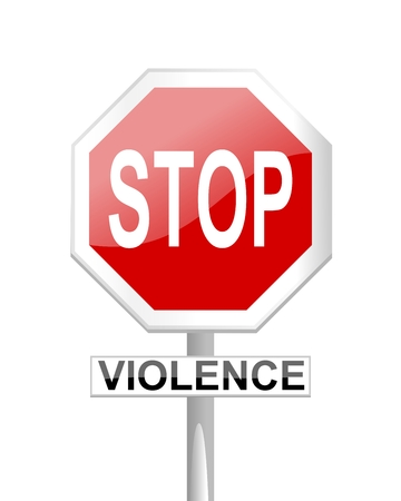 Red stop sign with supplementary tables and inscription violence - vector Vector