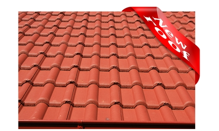 The roof is covered with red concrete roofing tiles with red lettering and a corner of New Roof photo