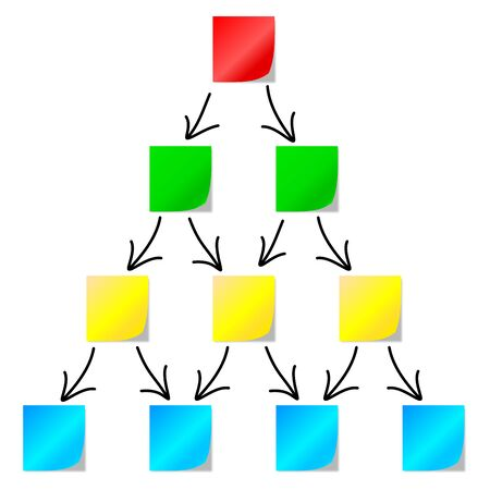 stakeholder: Diagram of colored papers with arrows on a white background