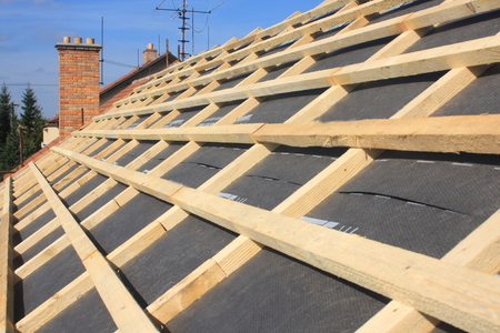 Detail of the roof battens without covering