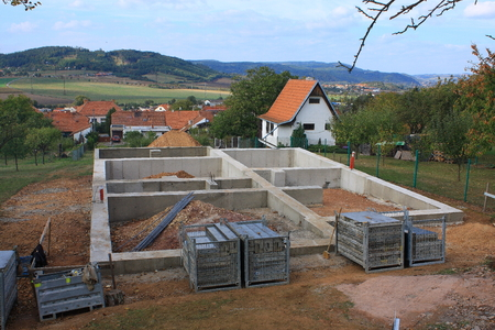 Concrete foundations for a new big house Stock Photo