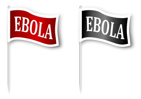 virulence: Red and black flag with the inscription \\\EBOLA\\\ - vector