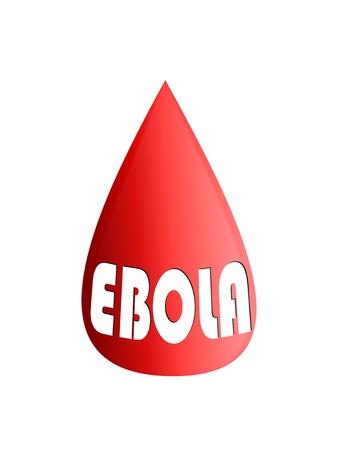 mundo contaminado: Una gota de sangre con la palabra de Ebola - ilustración