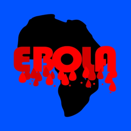 quarantine: Map of Africa with the word Ebola and drops of blood - vector