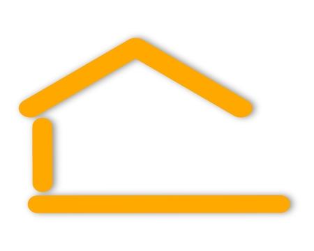 Gele silhouet van het huis met een zadeldak als logo Stock Illustratie