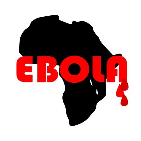 """mundo contaminado: Mapa de África con la palabra  """" Ébola"""" y gotas de sangre - vector"""