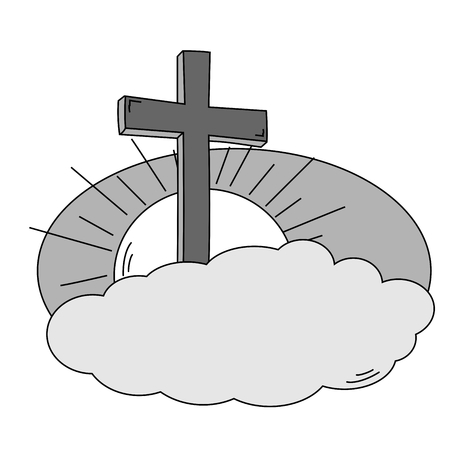 Cross cloud, sky and sun in black and white - vector Vector