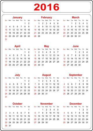 Simple Calendar for the year 2016 on a white background - vector Vector
