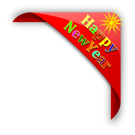 Red corner with the inscription Happy New Year - vector Vector