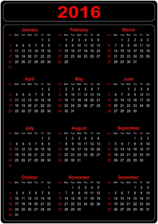 Simple Calendar for the year 2016 on a black background - vector Vector