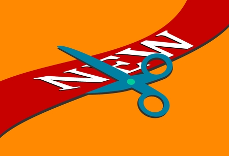 Red tape with the words \\\\\\\new\\\\\\\ and scissors on an orange background - vector Vector