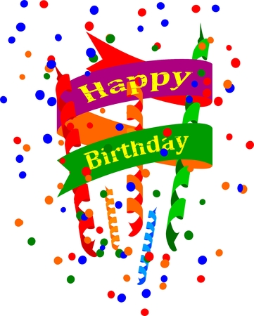 happy birthday vector: Greeting card with inscription happy birthday -  vector
