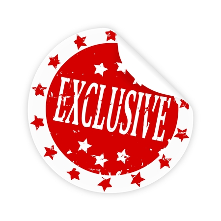 Sticker with a bent corner, the stars and the inscription Exclusive - vector Vector
