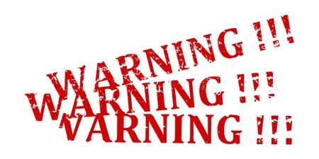Trois tampon rouge avec le mot d'avertissement - vecteur