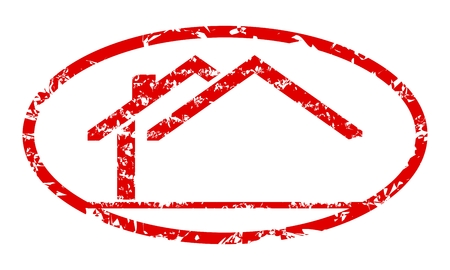 Oval red stamp in the shape of a house - vector Illustration
