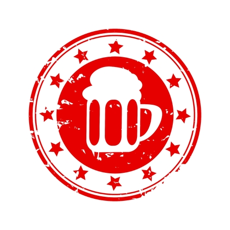 Red stamp with beer jug and stars - vector Vector