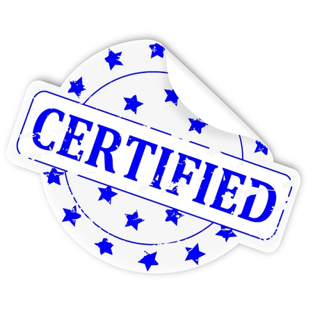 permitted: Big round white sticker with the inscription - Certified - vector