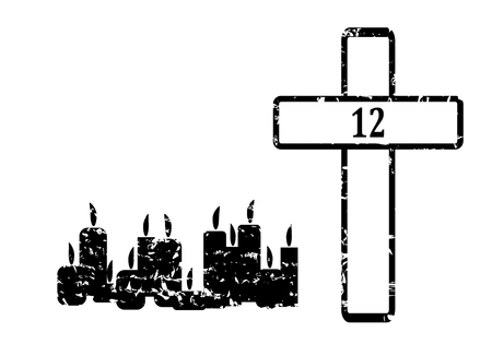 satirical: Black Cross with 12 candles and sign 12 - vector Illustration