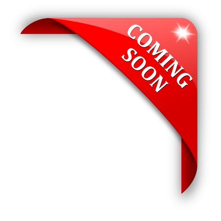 Rode hoek met het teken binnenkort - vector Stock Illustratie