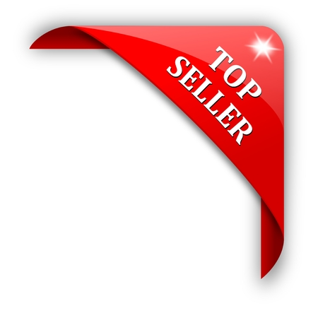 Red corner with the sign top seller - vector