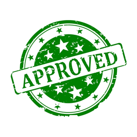 approved: Round green stamp with the word