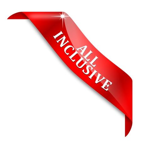 inclusive: Red corner ribbon with the inscription - all inclusive - vector