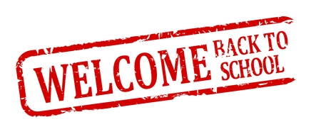 Damage oval red stamp with the inscription - welcome back to school - vector Vector