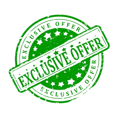 exclusive: Damaged round green stamp on white background with the words - exclusive offer - vector Illustration