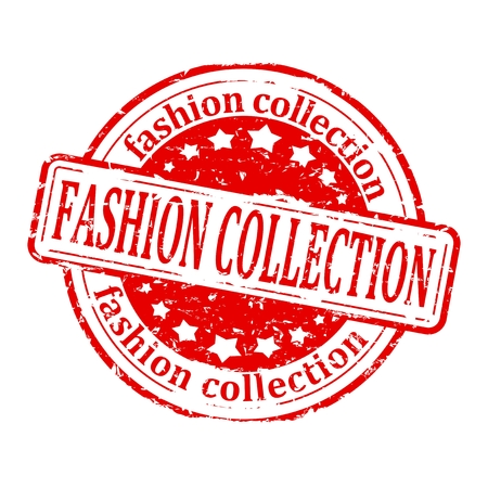 fashion collection: Damaged round red stamp with the word - fashion collection - vector