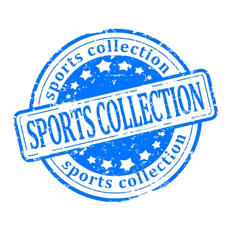 Damaged round blue stamp with the word - sports collection - vector Vector