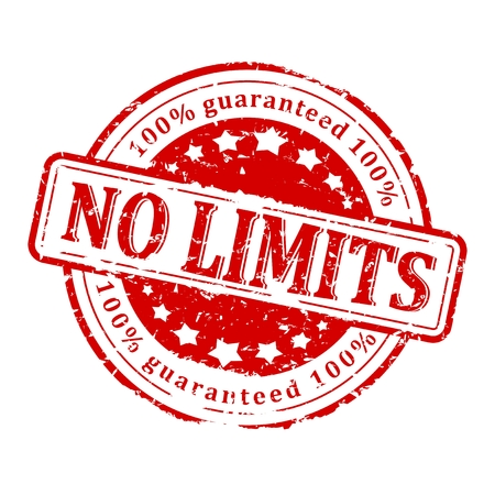 no limits: Damage to red round stamp with the word - no limits - 100% Guaranteed - vector
