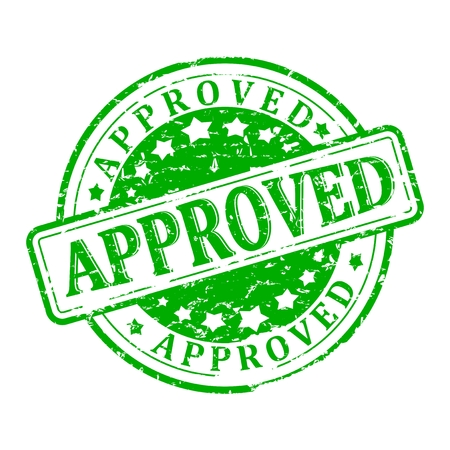approved: Damaged green round seal with the inscription - approved - vector